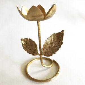 Santa Fe Marketplace Vintage Brass Flower Candle Holder