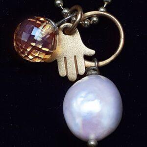 Santa Fe Marketplace Mini-Necklet Akoya Pearl, Citrine Dangle + Hamsa Charm