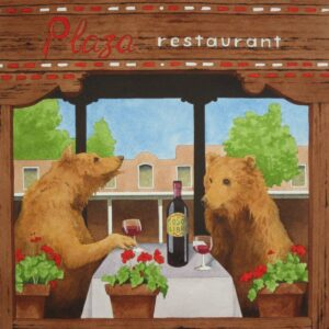 "Santa Fe Marketplace ""Lunch at the Plaza"" painting"