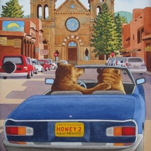 "Santa Fe Marketplace ""Moving In"" painting"