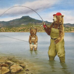 "Santa Fe Marketplace ""Learning To fish"" painting"