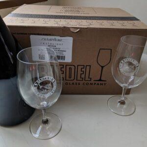 Santa Fe Marketplace Dozen Riedel Logo Wine Glasses