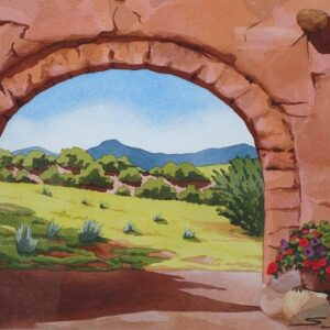 "Santa Fe Marketplace ""Pedernal View from Courtyard"" painting"