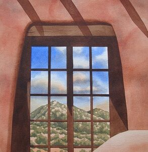 "Santa Fe Marketplace ""Sangres de Cristo Reflection"" painting"
