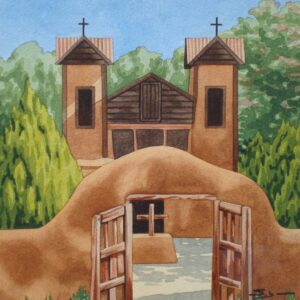 "Santa Fe Marketplace ""Shadows at Santuario de Chimayo"" painting"