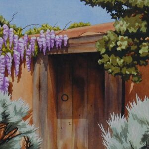 "Santa Fe Marketplace ""Wisteria Chamisa and Barn Wood Door"" painting"