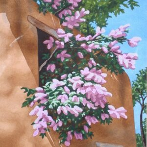 Santa Fe Marketplace 'Lilacs Spilling from Adobe Window' painting