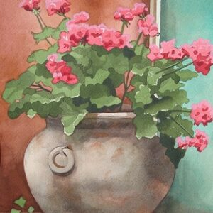 "Santa Fe Marketplace ""Mexican Urn with Geraniums"" painting"