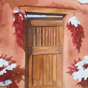 "Santa Fe Marketplace ""Snow on Chili Peppers in Doorway"" painting"