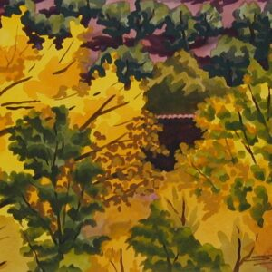 """Santa Fe Marketplace """"Tiled Roof and Golden Cottonwoods from Cerro Gordo Park"""" painting"""