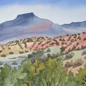 "Santa Fe Marketplace ""Pedernal from Echo Amphitheater"" painting"