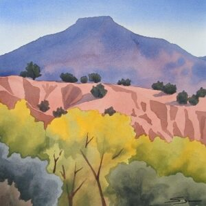 "Santa Fe Marketplace ""Pedernal and Golden Cottonwoods from Ghost Ranch"" painting"