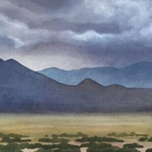 "Santa Fe Marketplace ""Mountain View from Sunlit Hills"" painting"
