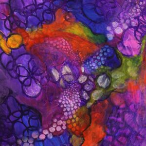 "Santa Fe Marketplace ""Purple Haze"" – Original Abstract Acrylic By Sara Miller"