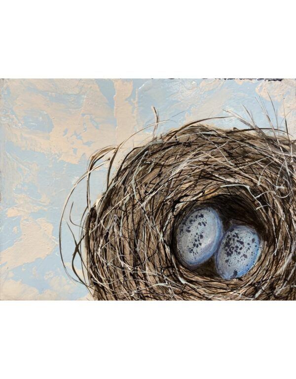 Santa Fe Marketplace Where it Began – Acrylic Eggs in a Nest Painting 6″x8″