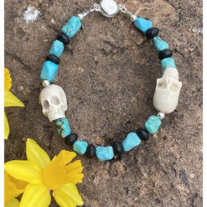 Santa Fe Marketplace Elk Antler Skull and Turquoise Men's Bracelet