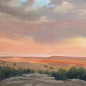 Santa Fe Marketplace Galisteo Sunset – Original painting in frame