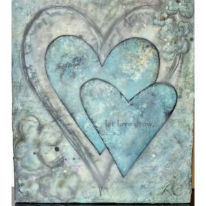 Santa Fe Marketplace Let Love Grow – Three Hearts – Mixed Media Painting 10″x8″