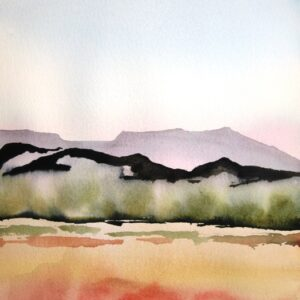 Santa Fe Marketplace Pinon Shadows – Watercolor Painting
