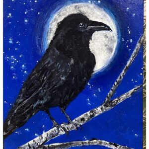 Santa Fe Marketplace Presence – Acrylic Raven and Moon Painting 8″x6″