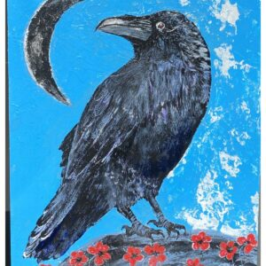 Santa Fe Marketplace Blessings – Acrylic Raven with Crescent Moon Painting 8″x6″
