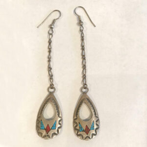 Santa Fe Marketplace Vintage Silver, Turquoise and Coral Earrings