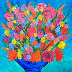 "Santa Fe Marketplace ""Flowers in Blue Bowl"" – Original painting by Sara Miller"