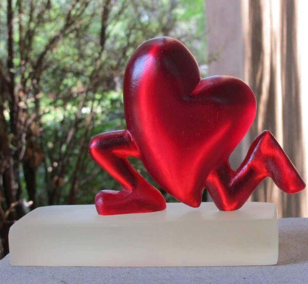 Santa Fe Marketplace Running Heart (Red resin sculpture)