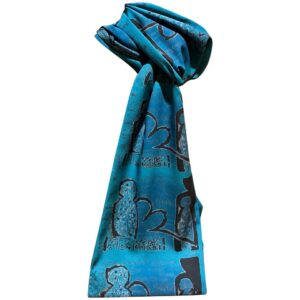 Santa Fe Marketplace Crossing Over Teal scarf by Melanie Yazzie