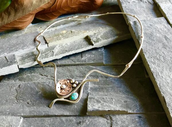 Santa Fe Marketplace Sterling Turquoise and Copper Moveable Necklace