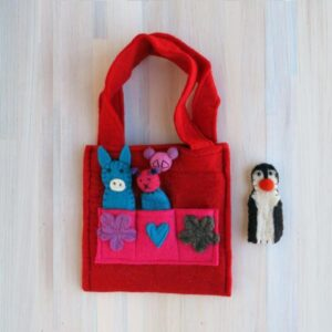 Santa Fe Marketplace Felt Puppet Purse (Red)