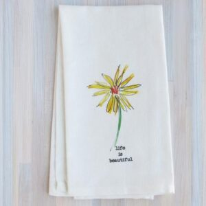 Santa Fe Marketplace French Graffiti Tea Towel (Life Is Beautiful)