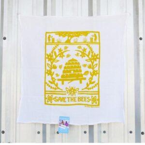 Santa Fe Marketplace Kei & Molly Flour Sack Kitchen Towel (Yellow Bees)