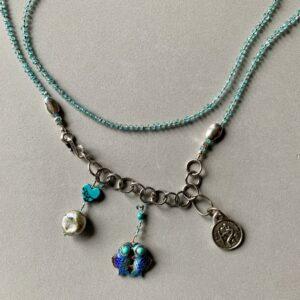 Santa Fe Marketplace Blue Apatite and Cloisonné Fish Necklace
