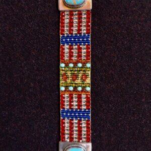"Santa Fe Marketplace ""American Love"" Chili Rose Beaded Bracelet by Adonnah Langer"