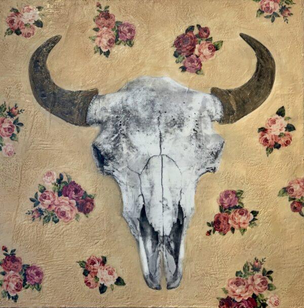 Santa Fe Marketplace Wallpaper Bison Head – Original Mixed Media Art