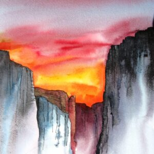 Santa Fe Marketplace Canyon Sunset – Watercolor Painting