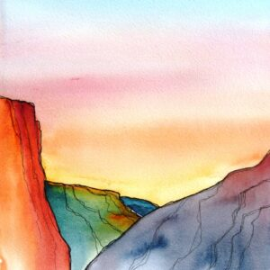 Santa Fe Marketplace Canyonland Sunrise – Watercolor Painting