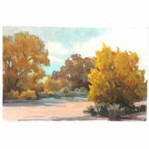 Santa Fe Marketplace High Desert Autumn – Original framed gouache painting