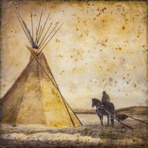 Santa Fe Marketplace Horse & Travois Encampment – Original Mixed Media Art