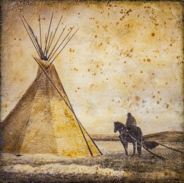 Santa Fe Marketplace Horse & Travois Encampment – Original Mixed Media Art