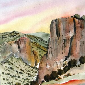 Santa Fe Marketplace Pinons In Waldo Canyon – Watercolor Painting