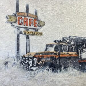 Santa Fe Marketplace Route 66- Ranch House Cafe – Original Mixed Media Art