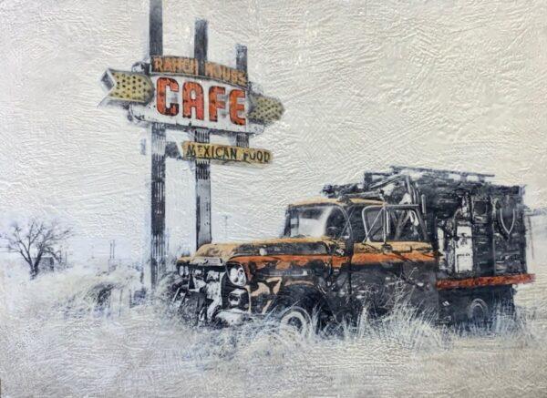 Santa Fe Marketplace Route 66- Ranch House Cafe – Original Mixed Media Art