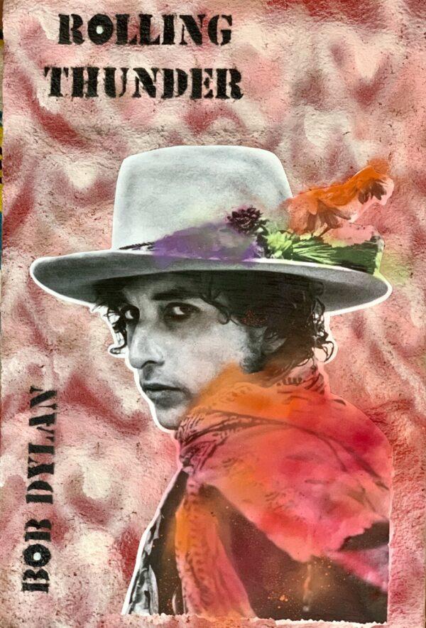 Santa Fe Marketplace Rolling Thunder- Bob Dylan – Original Mixed Media Art