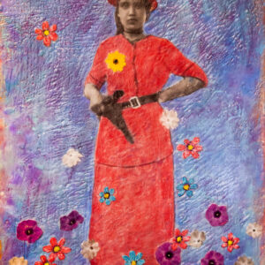 Santa Fe Marketplace Rosa y Pistola – Original Mixed Media Art