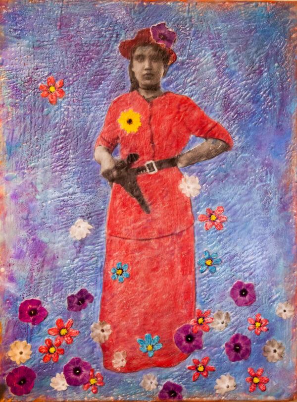 Santa Fe Marketplace Rosa y Pistola – Original Mixed Media Art