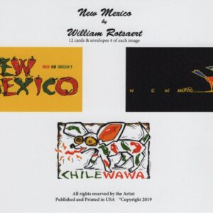"Santa Fe Marketplace ""New Mexico"" Greeting Cards with Illustration by William Rotsaert"