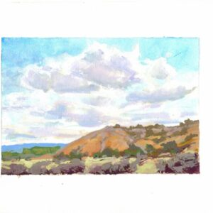 Santa Fe Marketplace Cliffs and Sky – Original Framed Gouache Painting