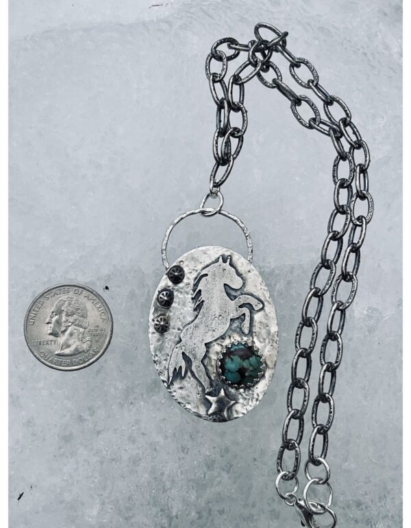 Santa Fe Marketplace Sterling Horse Kingman Turquoise Link Chain Necklace